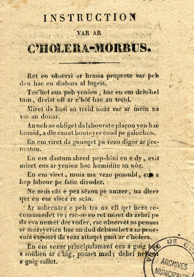 Instruction sur le choléra écrit en breton